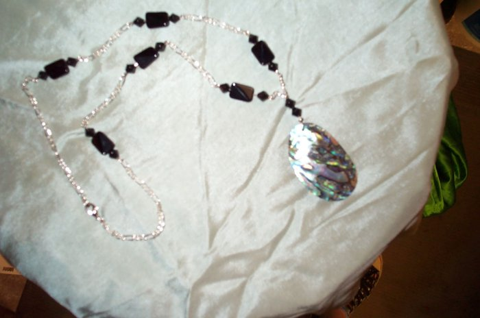 Black Glass Mermaid Shell Necklace
