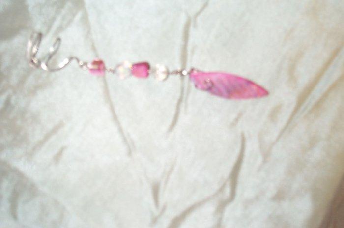 Pink Shell Leaf Elven Ear Cuff