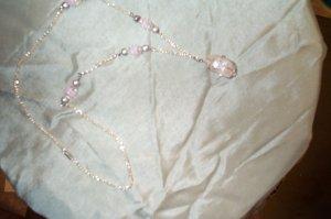 Quartz Crystal Pink Silver Necklace