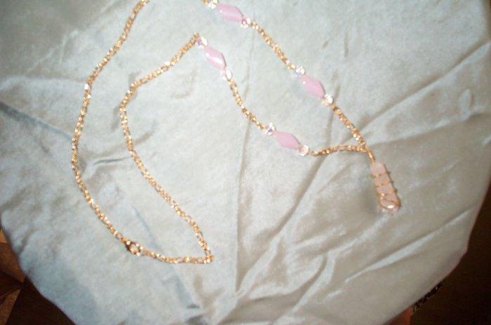 Quartz Crystal Pink Gold Elven Necklace
