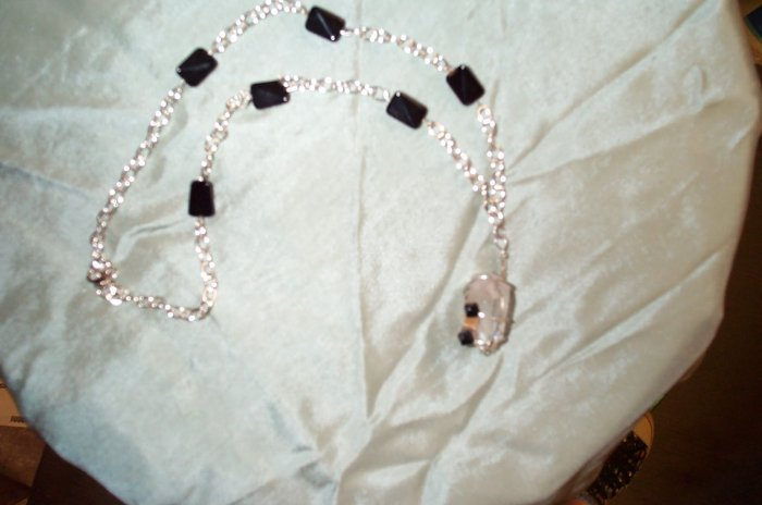 Quartz Crystal Black Bead Necklace