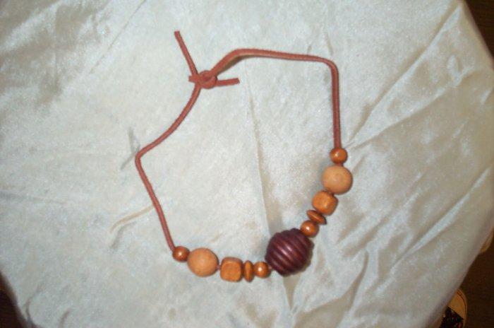 Celtic Renaissance Medieval Wood Bead Necklace