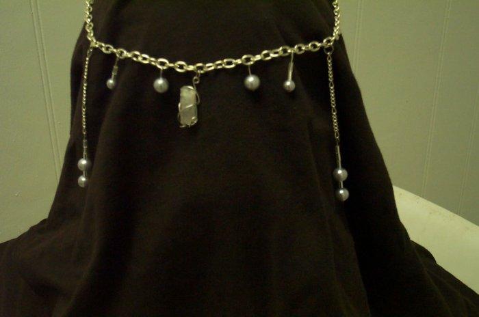 Quartz Crystal Pearl Drop Elven Celtic Renaissance Circlet