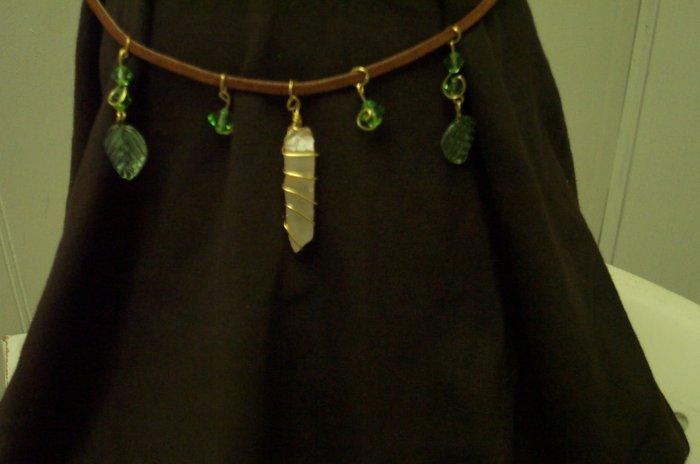 Quartz Crystal Leather Elven Leaf Circlet Renaissance Celtic