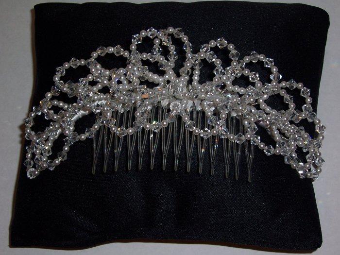 Austrian Crystal and Pearl Bridal Comb Tiara