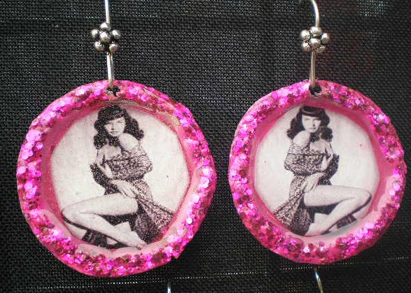 Pink Betty Page Bottle Cap Earings
