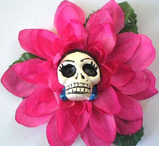 Pink Frida Skull Hair Clip