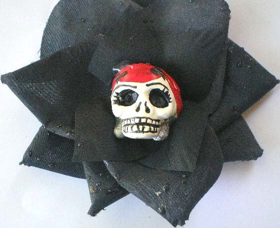 red Head Calavera Black Rose