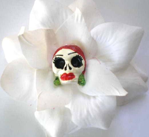 White Rose Red HEad Calavera