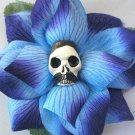 Blue 'Pancho' rose hair clip