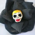 blonde Calavera Black Rose hair clip