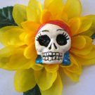 yellow flower Red headed Calavera