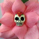 sugar skull, pink rose hair clip