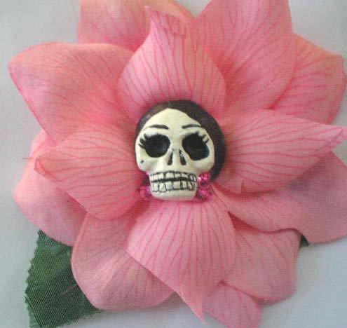 frida calavera pink rose hair clip