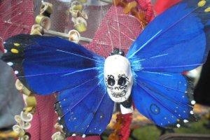 blue calavera Butterfly Clip