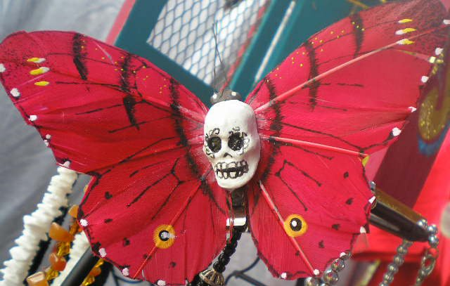 red calavera Butterfly Clip