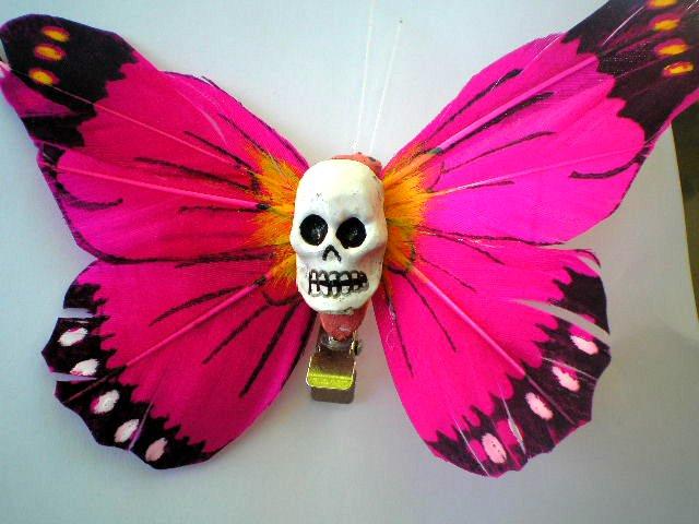 fushia Calavera butterfly hair clip