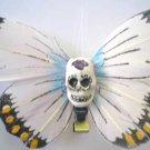white Calavera butterfly hair clip