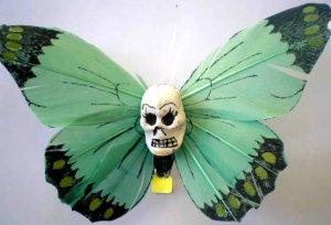 Green Calavera butterfly hair clip
