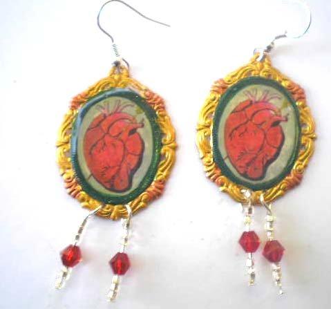 El Corazon loteria shrine earings