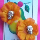 small rose skull earings