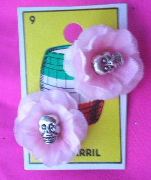 small rose skull earings
