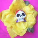 red head yellow flower calavera