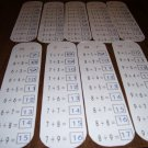 9 Laminated Addition Bookmarks Educational FREE SHIPPING
