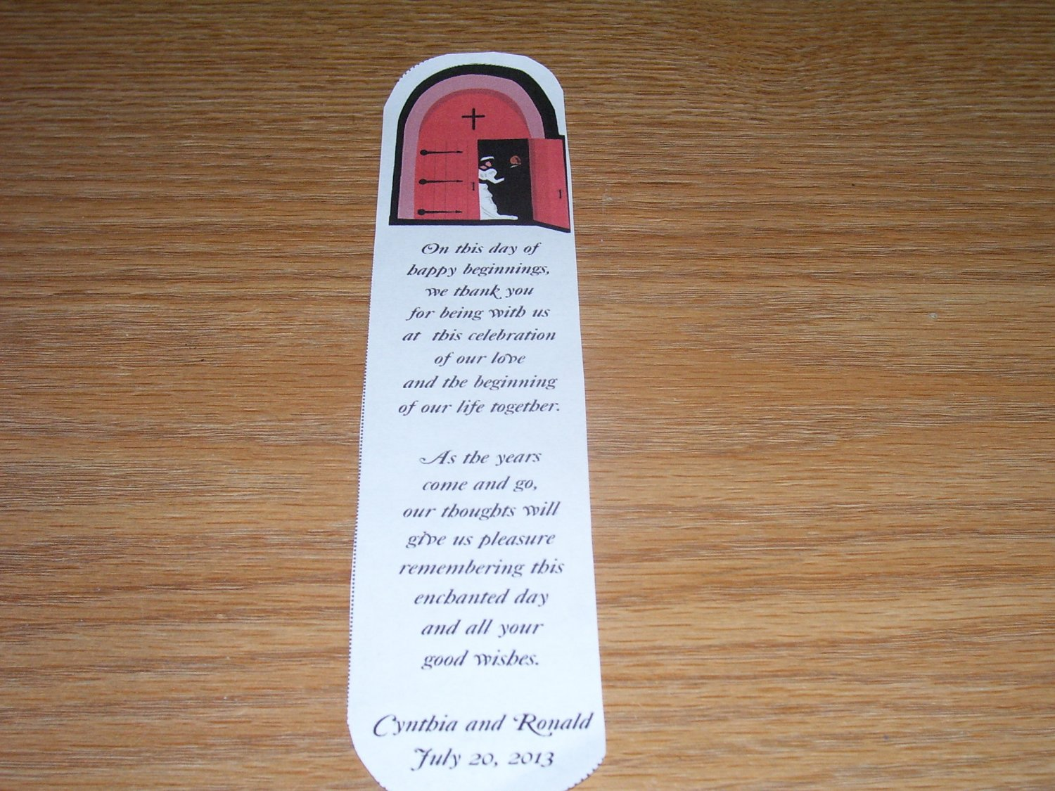 100 Personalized Laminated Wedding Favor Bookmarks - Church Wedding