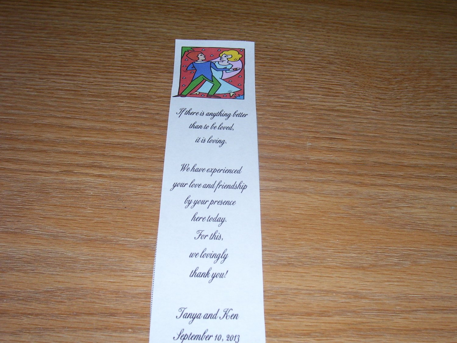 100 Personalized Laminated Wedding Favor Bookmarks     - Bride and Groom Dancing 2