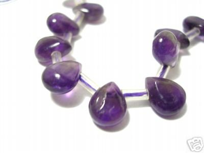 Amethyst Drop-shaped Gemstone, 5pcs