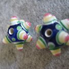 Lampwork Bead, Blue, 15mm, 1 pair