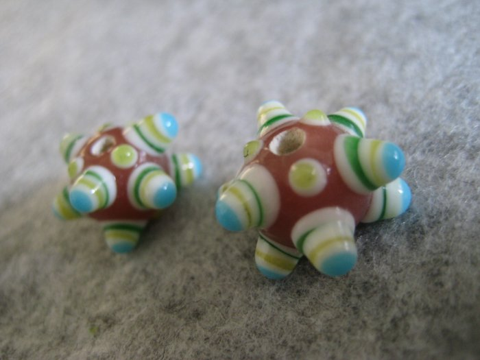 Lampwork Bead, Pink, 15mm, 1 pair