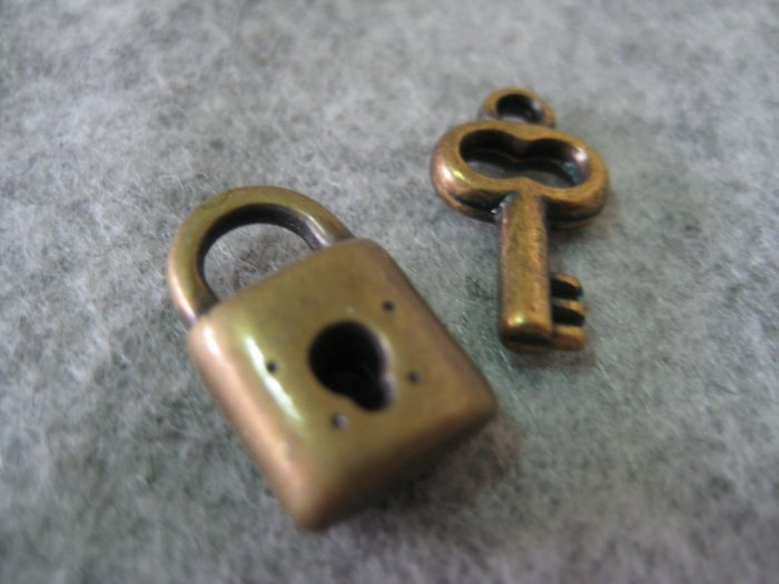 Mini Lock and Key Charm Set, 4pcs