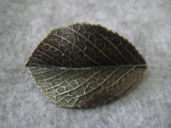 Leaf Charm, Brass, 21mm x 34mm
