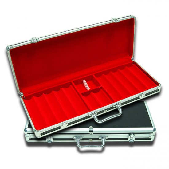 Black Aluminum Poker Chip Case - Holds 550 Chips (Red Interior)