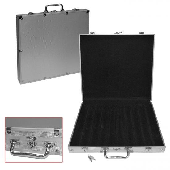 Aluminum Hard Side Poker Chip Case - Holds 1000 Chips (Black Felt Interior)