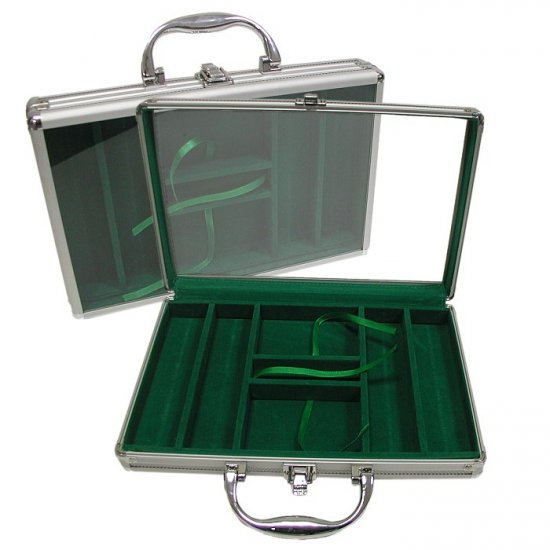 Aluminum Poker Chip Case with Clear Cover - Holds 200 Chips (Green Felt Interior)