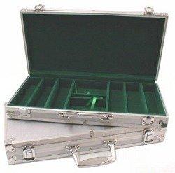 Aluminum Hard Side Poker Chip Case - Holds 300 Chips (Green Velour Interior)