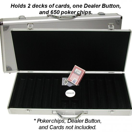 Aluminum Hard Side Poker Chip Case - Holds 650 Chips (Black Felt Interior)