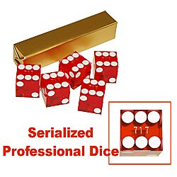 19mm Grade A Serialized Casino Dice - Set of 5 (Red)