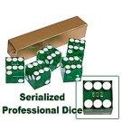 19mm Grade A Serialized Casino Dice - Set of 5 (Green)