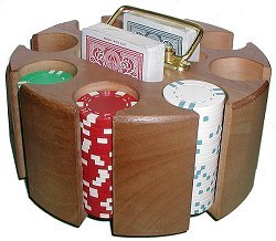 Solid Wood Poker Chip Carousel - Holds 200 Chips