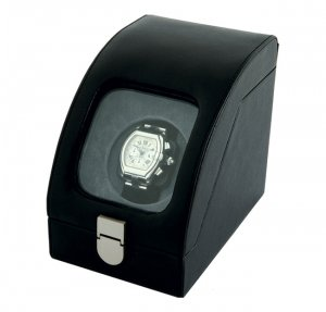 Eilux Single Automatic Watch Winder - Black Leather