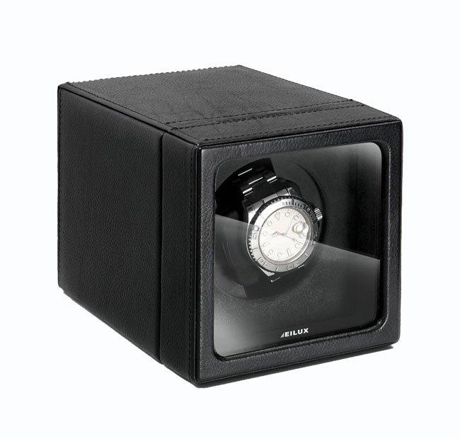 Eilux Cube Single Watch Winder - Black Leather