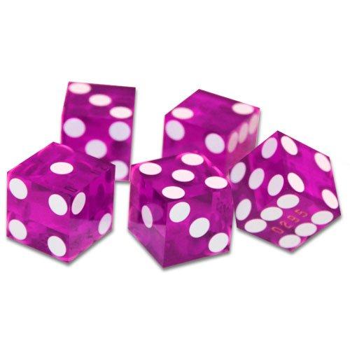 19mm Grade A Serialized Casino Dice - Set of 5 (Violet)
