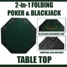 2 in 1 Folding Poker & Blackjack Table Top w/Carrying Case