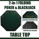 2 in 1 Folding Poker & Blackjack Table Top w/Carrying Case