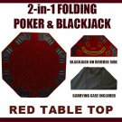 2 in 1 Red Folding Poker & Blackjack Table Top w/Carrying Case