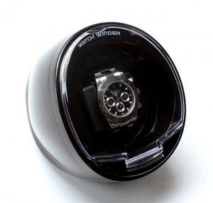 Versa Automatic Compact Single Watch Winder Box - AC Adapter - Black Case